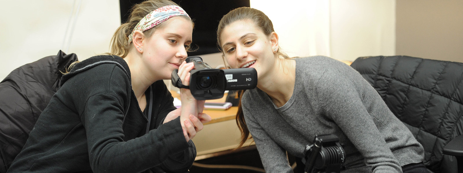 Media Studies students with camera equipment